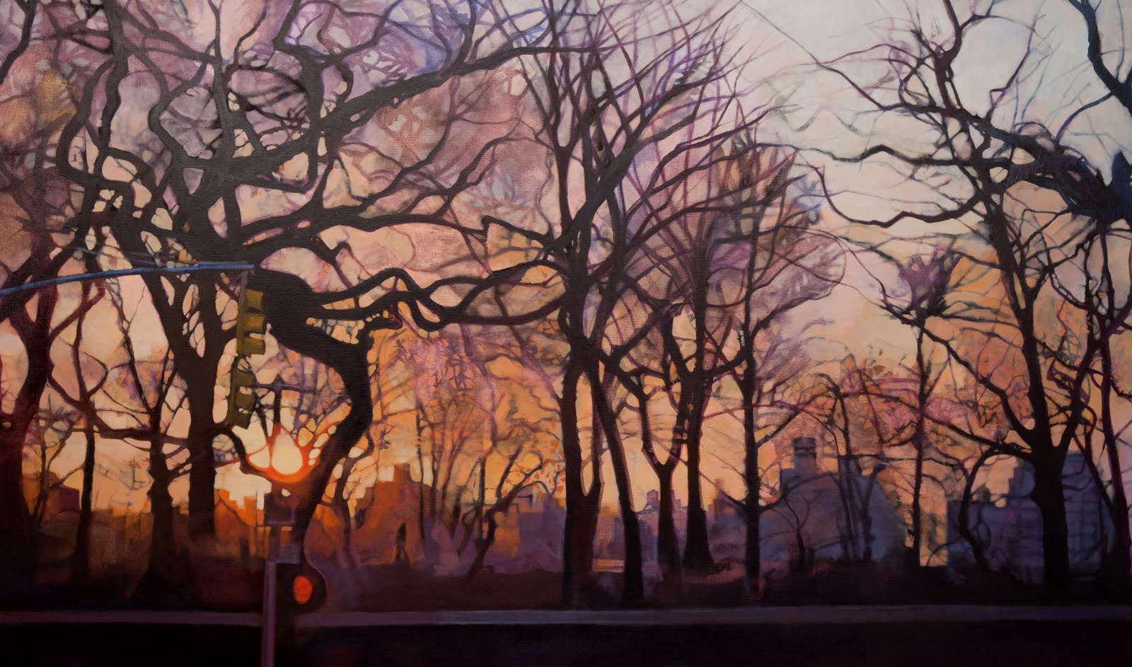 """""""East of the Sun (The Reservoir)"""", oil on linen, 32 x 54 x 2.5 in."""