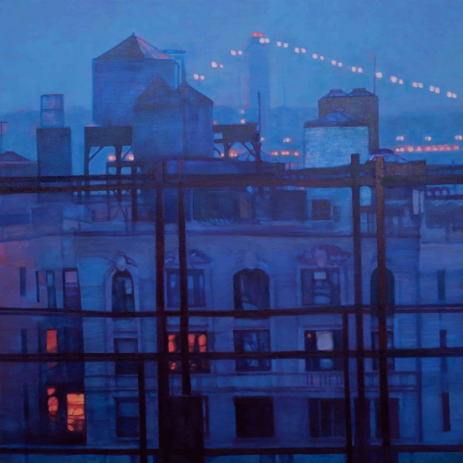 """The Gloaming (George Washington Bridge)"", oil on linen, 32 x 54 x 2.5 in."