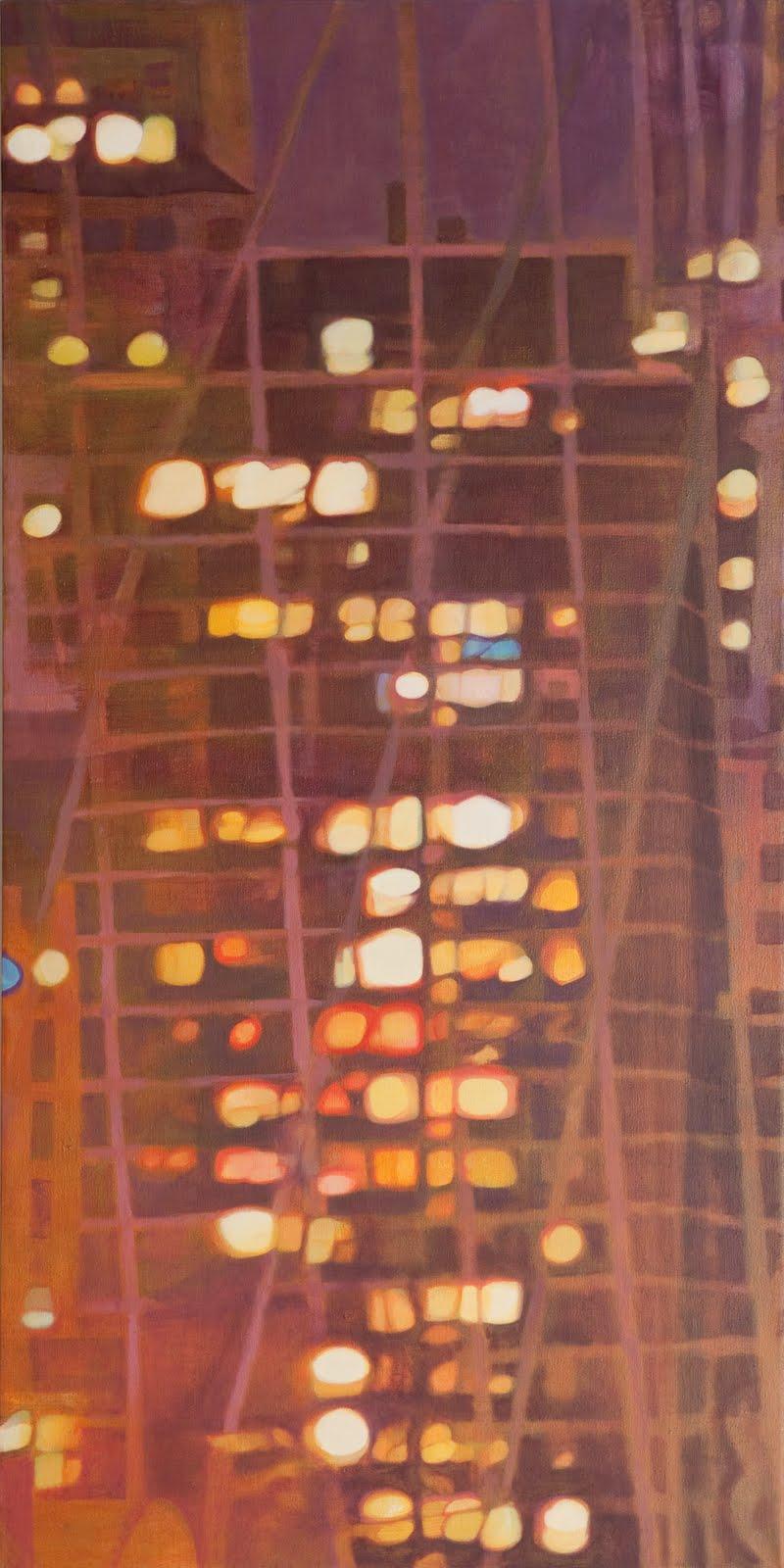 """From the Bridge II"", oil on linen, 44 x 22 x 2.5 in."