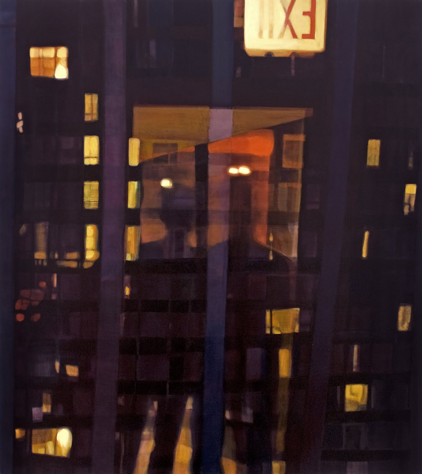 """Exit Reflection (Midtown)"", oil on linen, 54""x 48"", 2013"