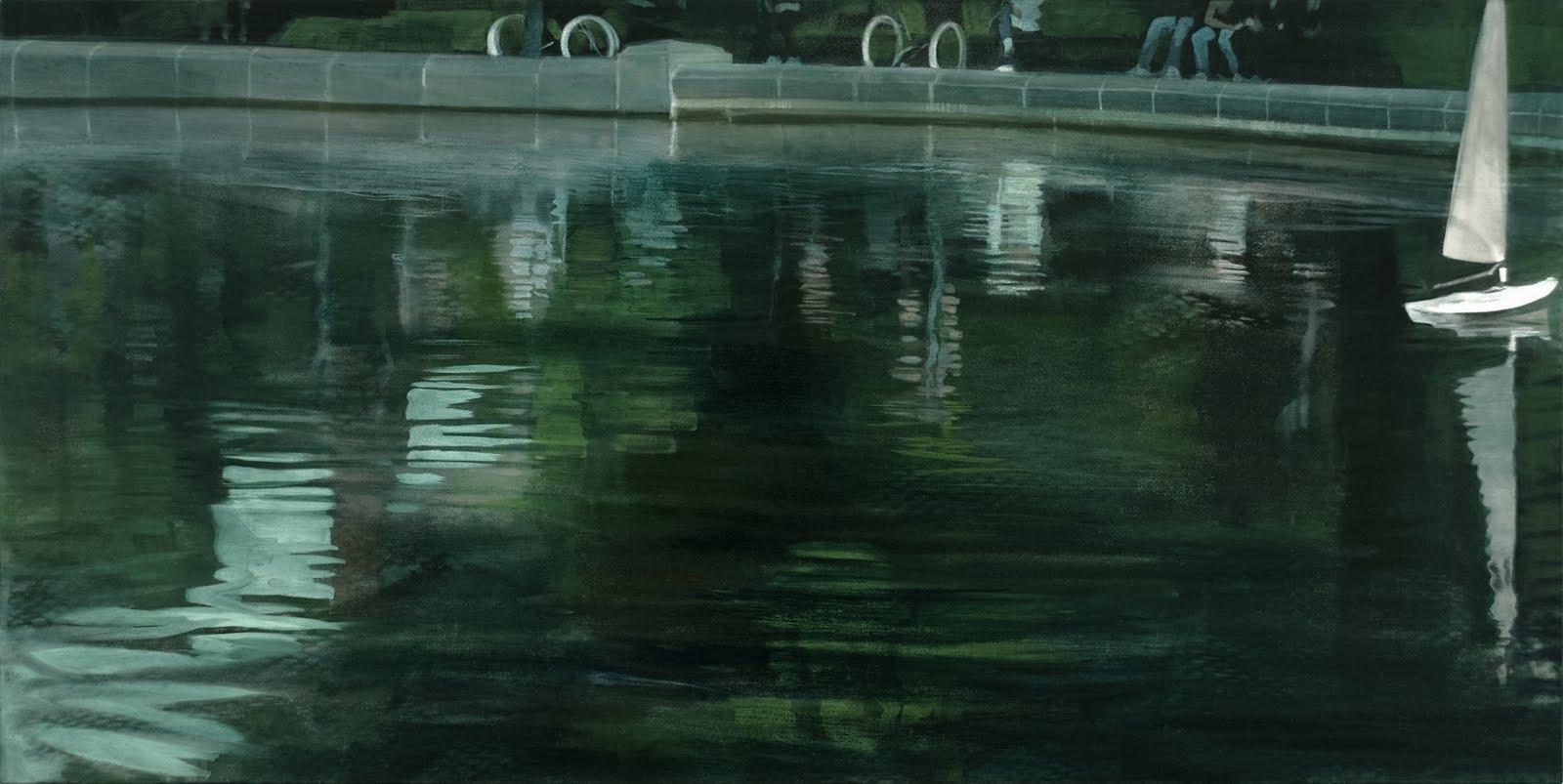 """Echoes Assembled (Central Park Boat Pond)"", oil on linen, 22""x 44"""