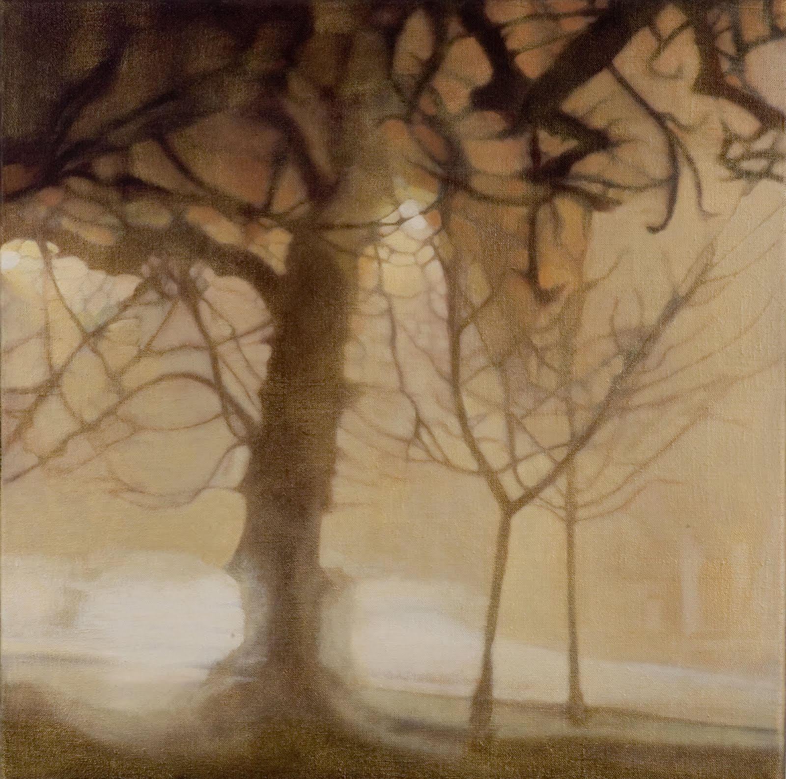 """""""Clapham Common Tree at Night"""", oil on linen, 18 x 18 in."""