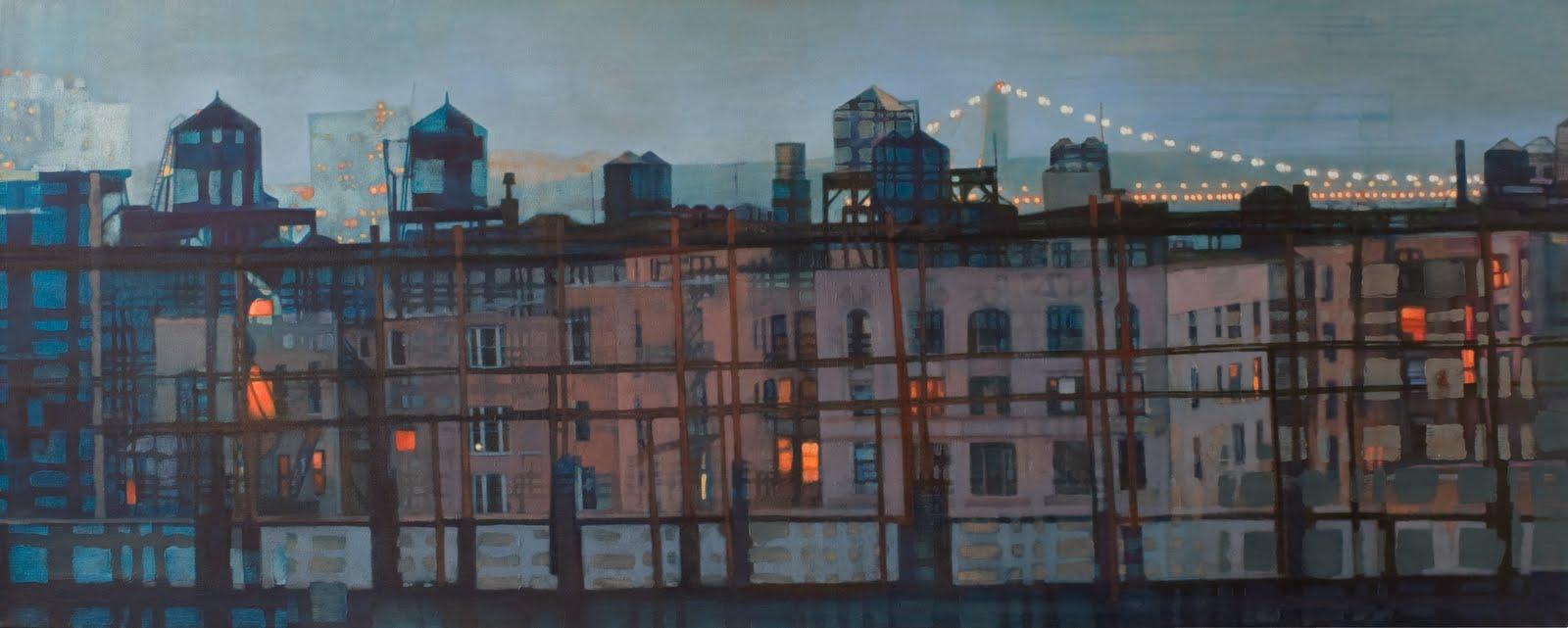 """Looking North (George Washington Bridge)"", oil on linen, 28 x 70 x 2.5 in."