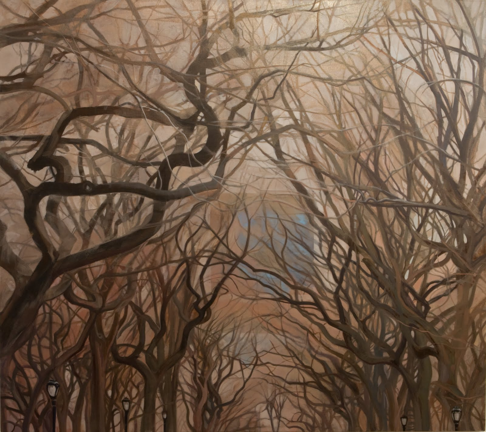 """""""Overcast Mall, Central Park"""", oil on linen, 48 x 54 x 2.5 in."""