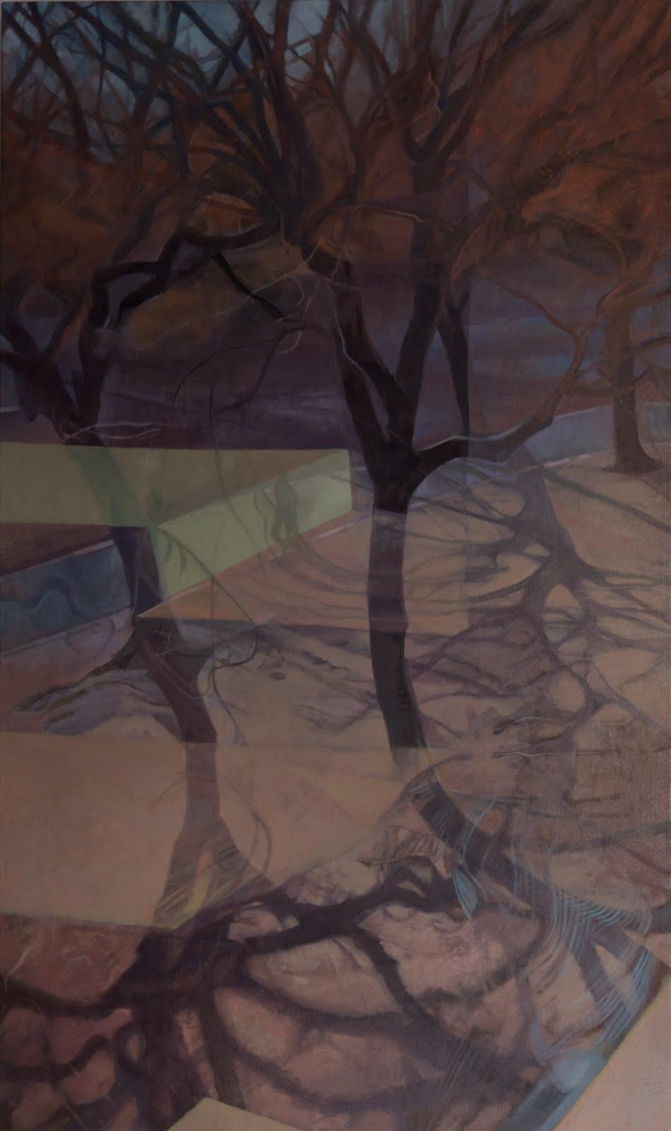 """Metropolitan Reflections"", oil on linen,  54 x 32 x 2.5 in."