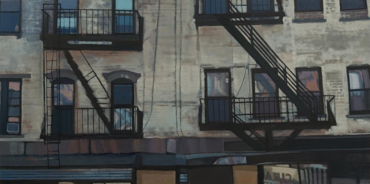 """""""Amsterdam Blues II"""", oil on linen, 40 x 20 x 2.5 in."""