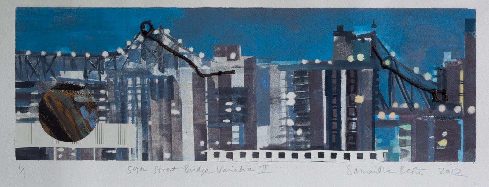 """59th Street Bridge Variation II"", monotype/collage, 12x24 in."