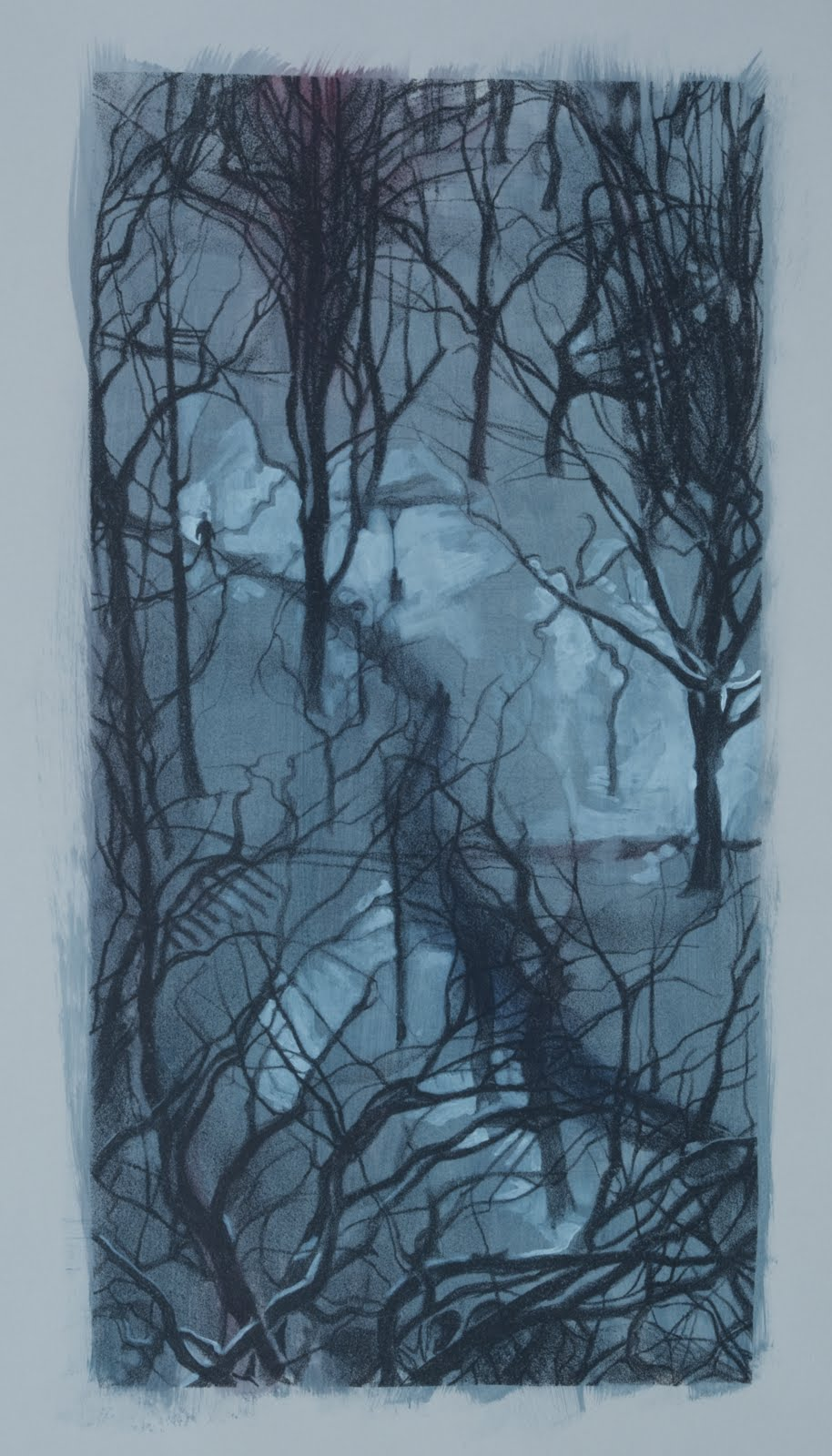 """""""Central Park Snow (variation)"""", lithograph with gouache, 13 x 6.5 in."""