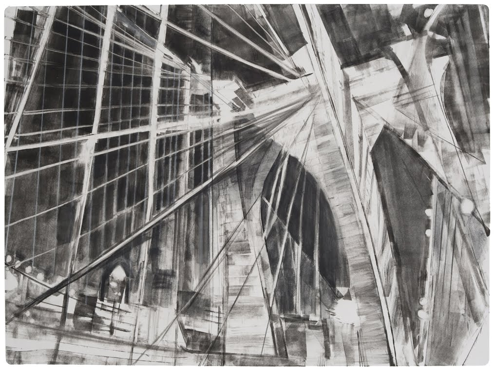 """Brooklyn Bridge"", monotype with pencil, 17 x 24 in."