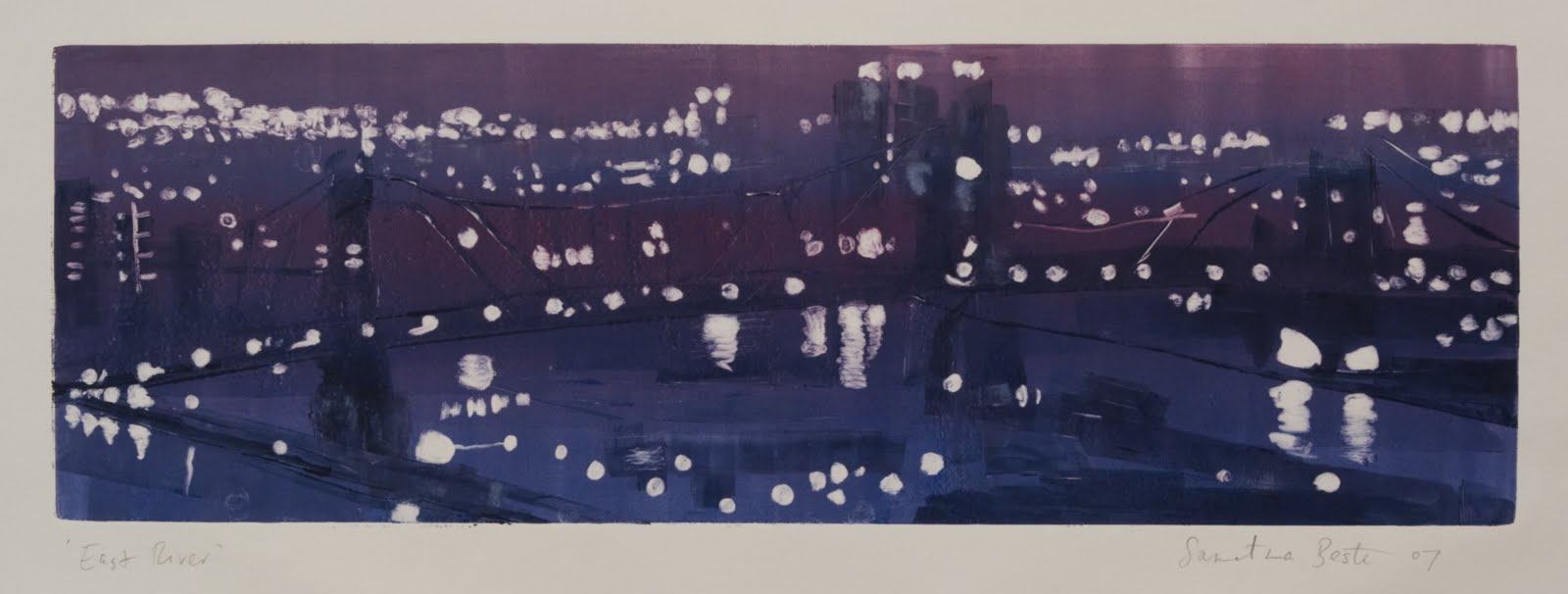 """""""East River"""", monotype, 6 x 18 in."""