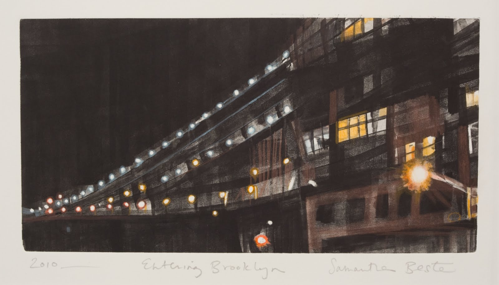"""""""Entering Brooklyn"""", monotype and colored pencil, 14 x 8 in."""