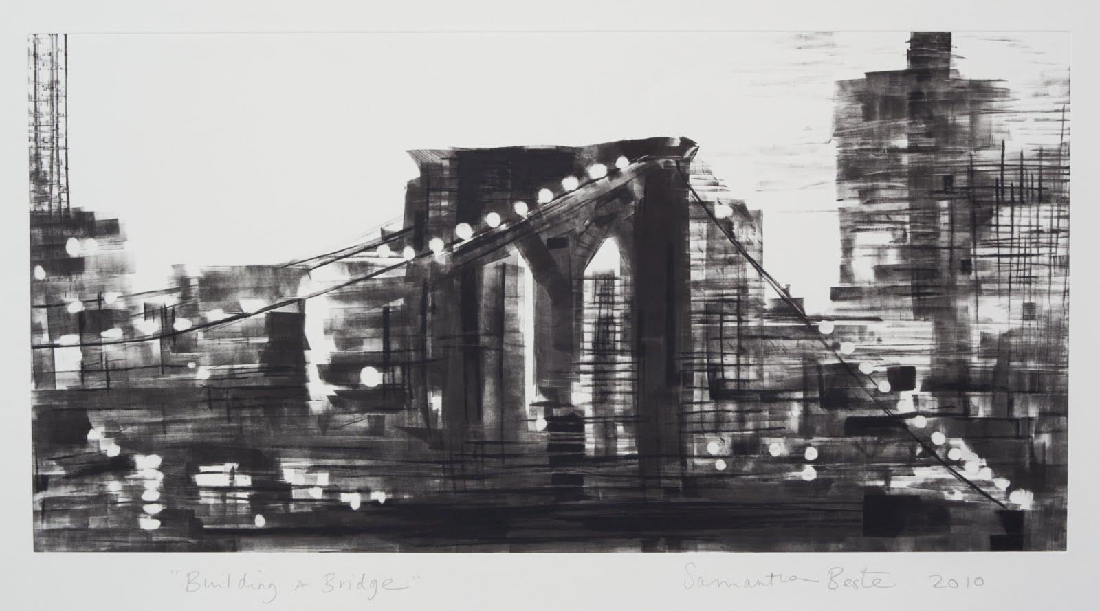 """Building a Bridge"", monotype, 12 x 24 in."