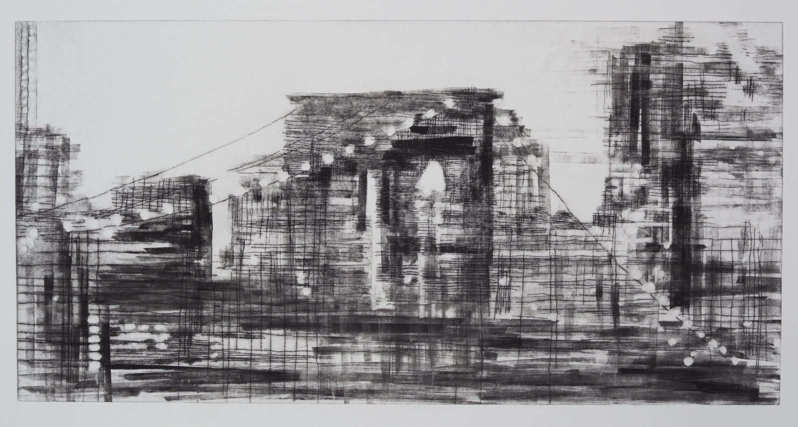"""""""Building a Bridge II (3/4)"""", drypoint and monotype, 24 x 24 in."""
