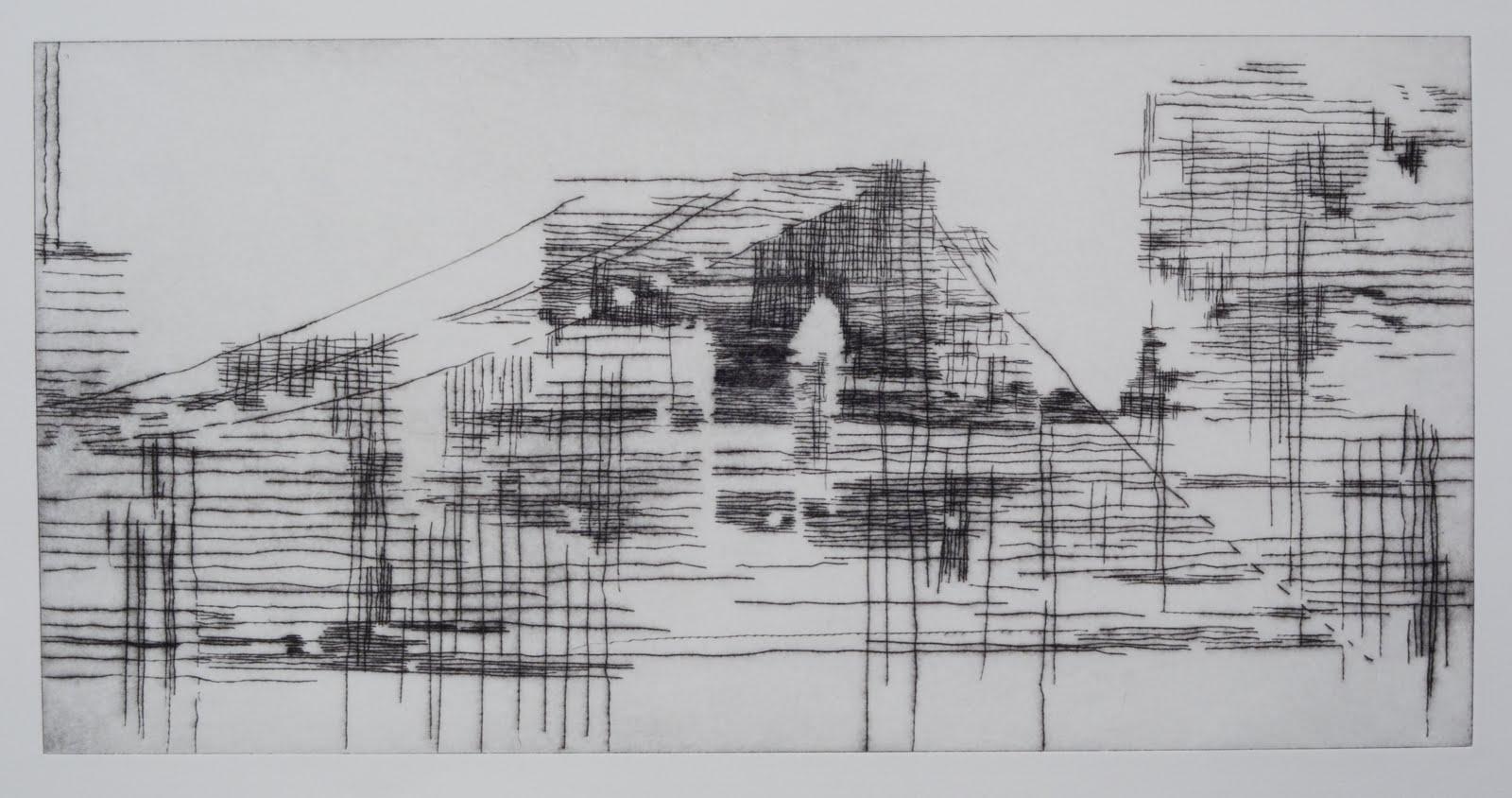 """Building a Bridge II (matrix)"", drypoint and monotype, 12 x 24 in."