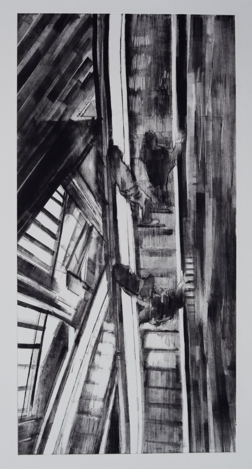 """""""Coming and Going (2/5)"""", drypoint and monotype, 24 x 12 in."""