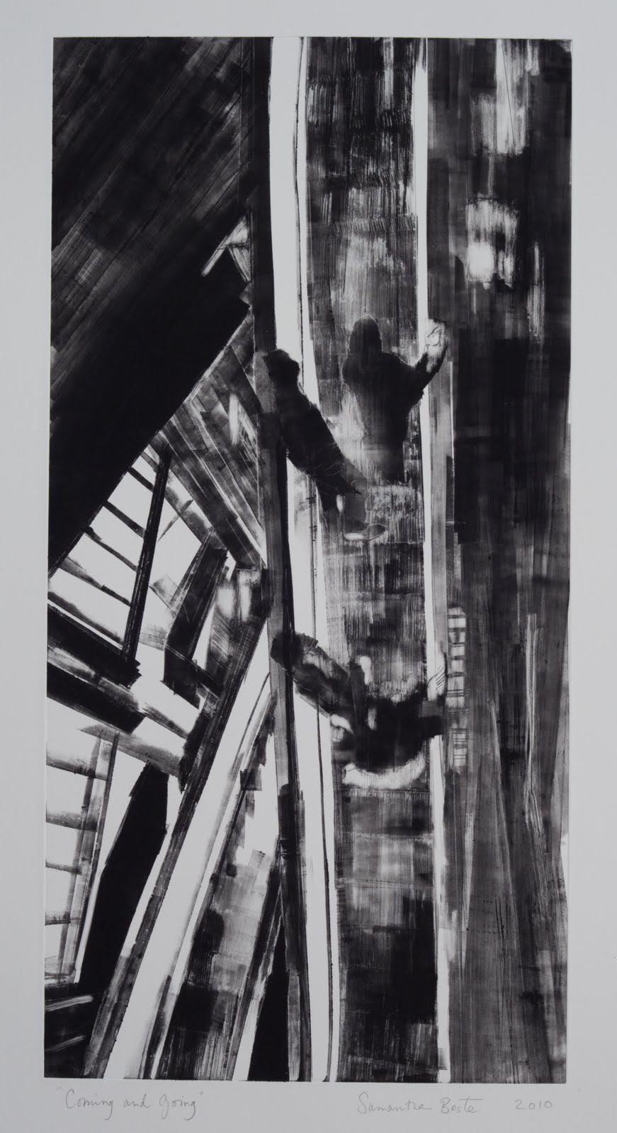 """""""Coming and Going"""", drypoint and monotype, 24 x 12 in."""