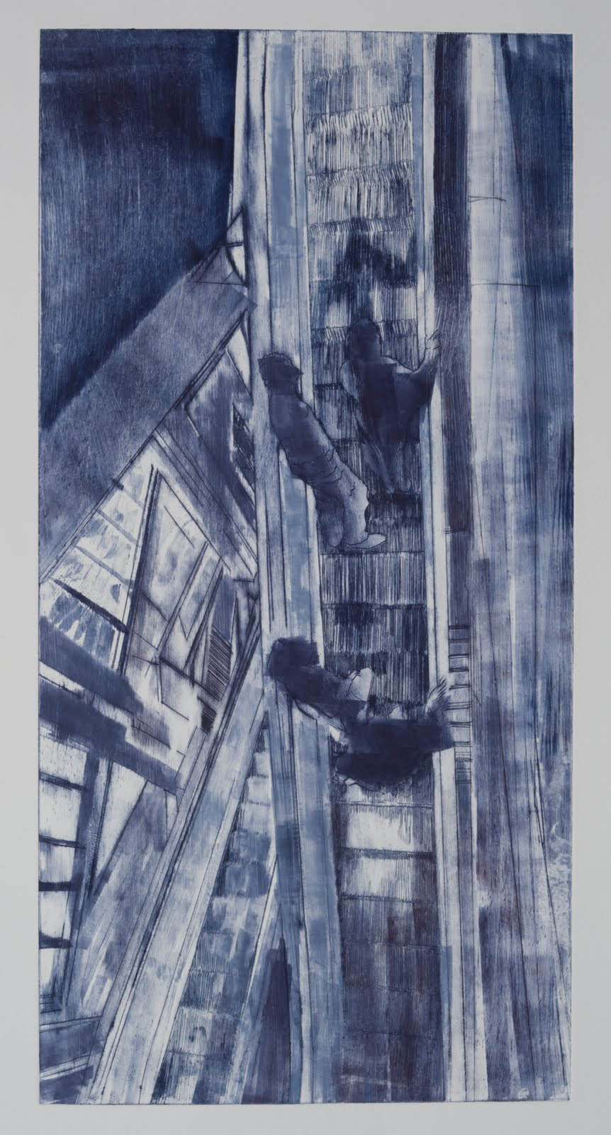 """""""Coming and Going (4/5)"""", drypoint and monotype, 24 x12 in."""