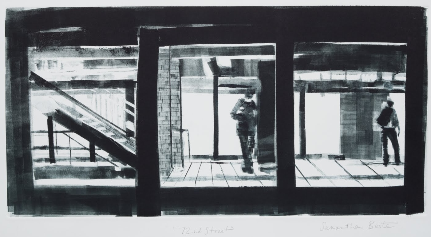 """""""72nd Street"""", monotype, 12 x 24 in."""