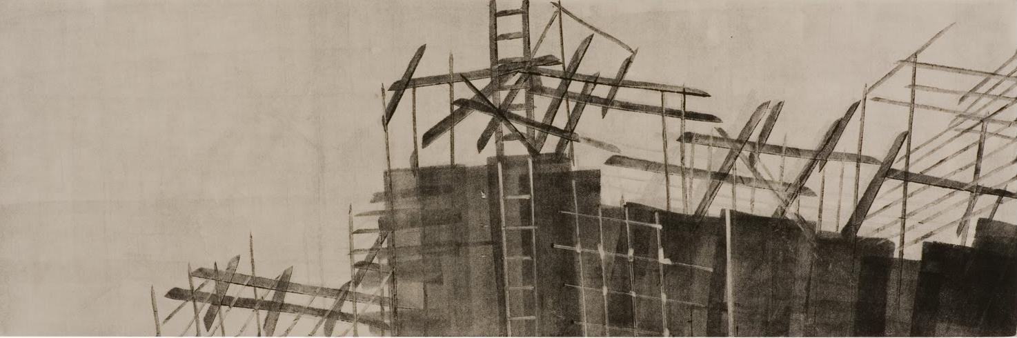 """Scaffolding (St. John the Divine)"", monotype, 18 x 6 in."