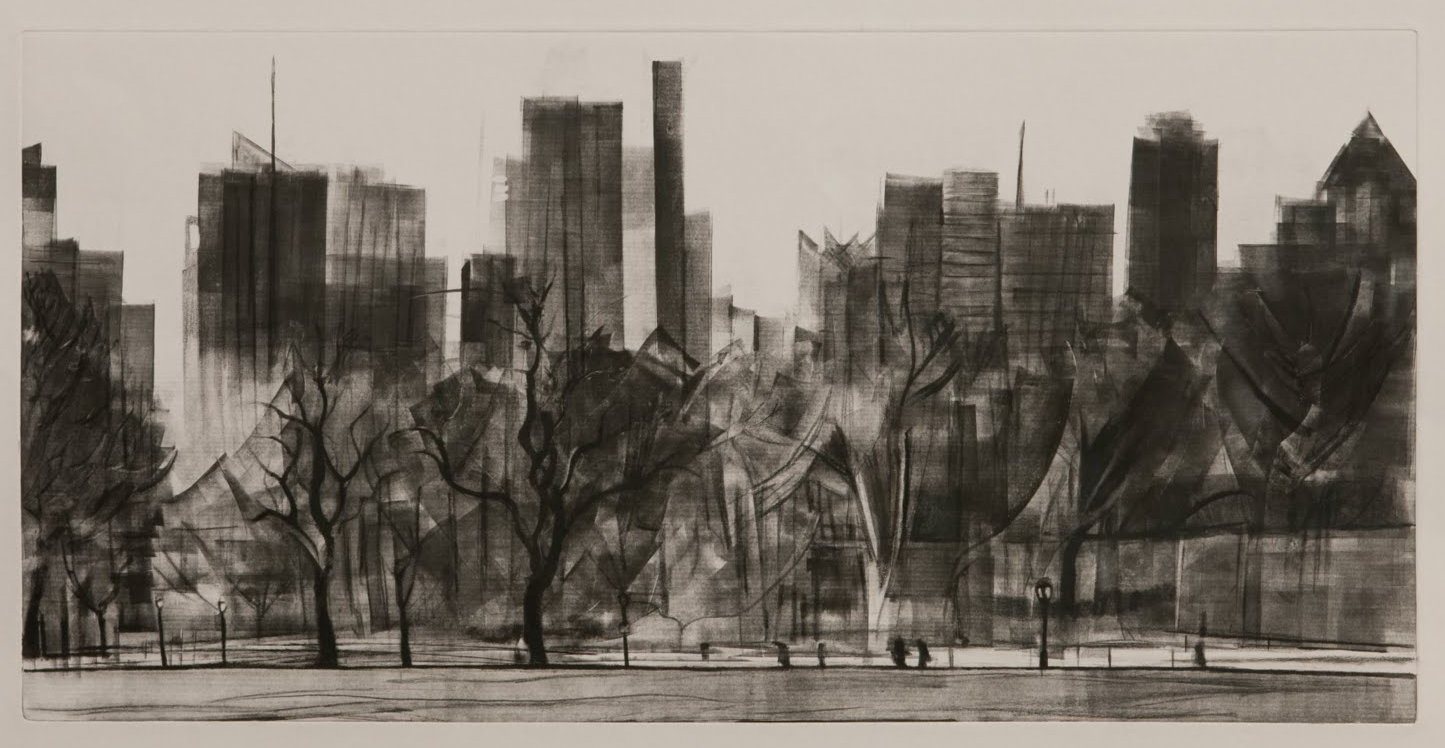 """""""Great Lawn (Central Park)"""", monotype with charcoal, 12 x 24 in."""