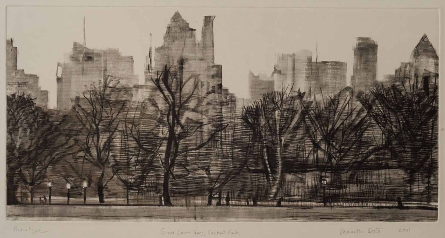 """""""Great Lawn Trees, Central Park"""", Monotype with black ink and gouache, 12 x 23 in."""