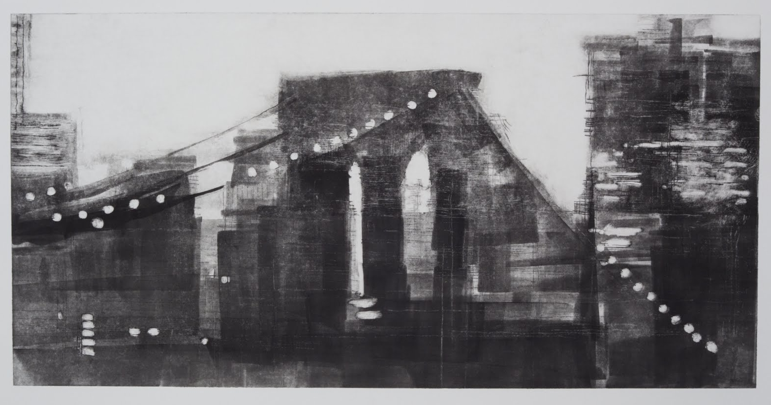 """""""Building a Bridge II (4/4)"""", drypoint and monotype, 12 x 24 in."""