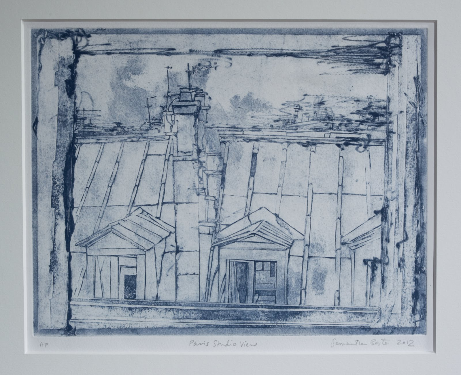 """""""Paris Studio View"""", collograph intaglio, 10 3/4 x 14 in."""