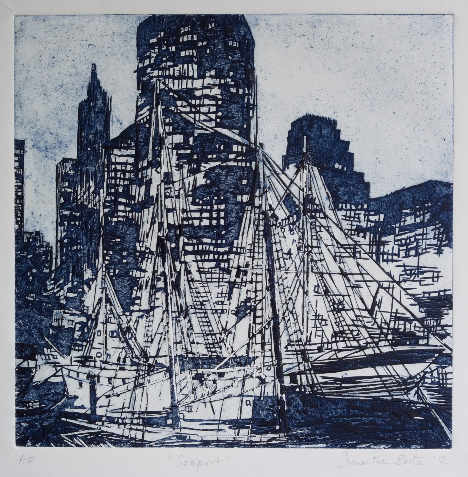 """Seaport"", gessoboard cut , 15.5x15.5 in."