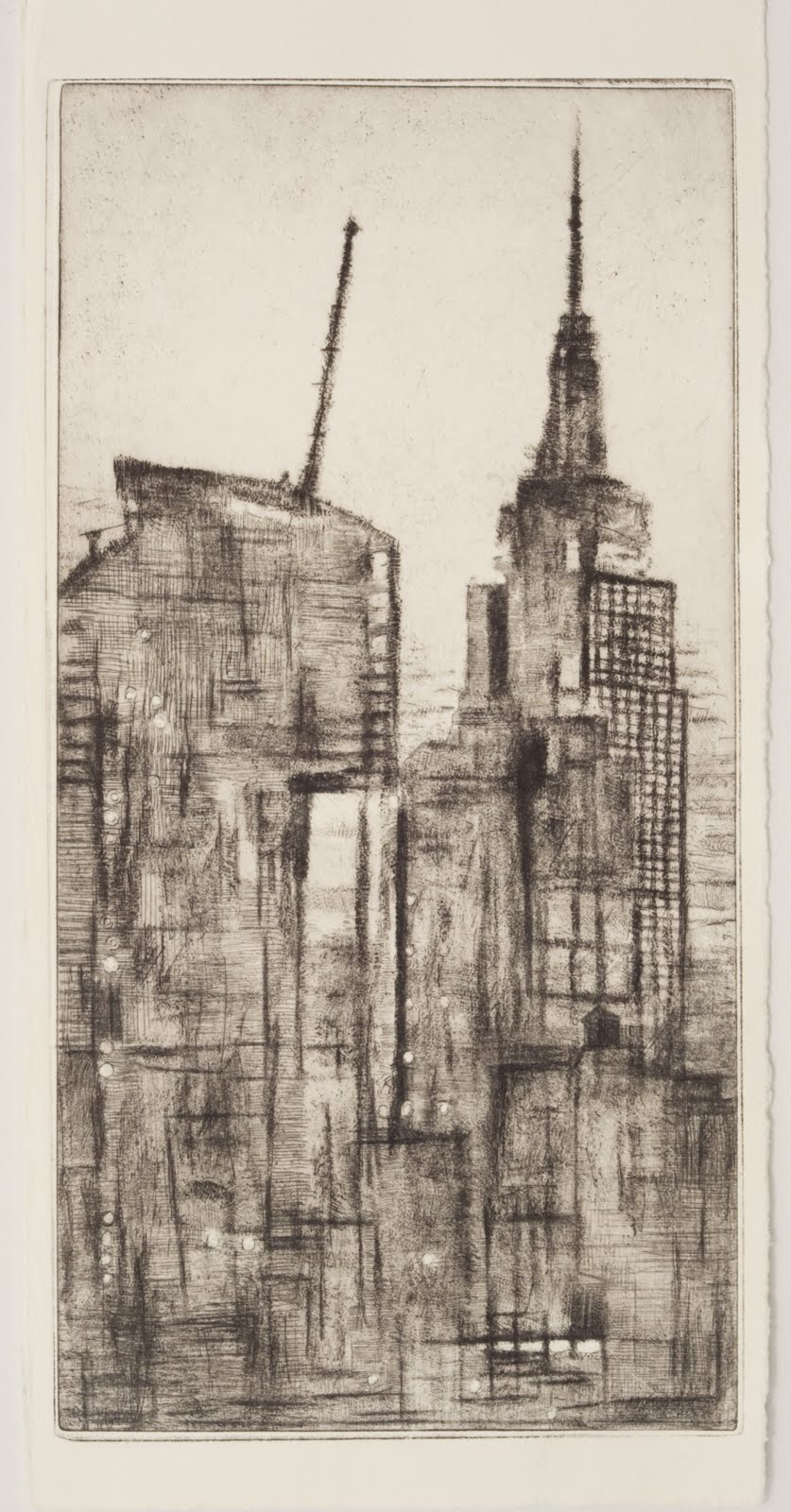 """Constructing a Tower"", drypoint etching (1 of 2 variations),13.5 x 7 in."