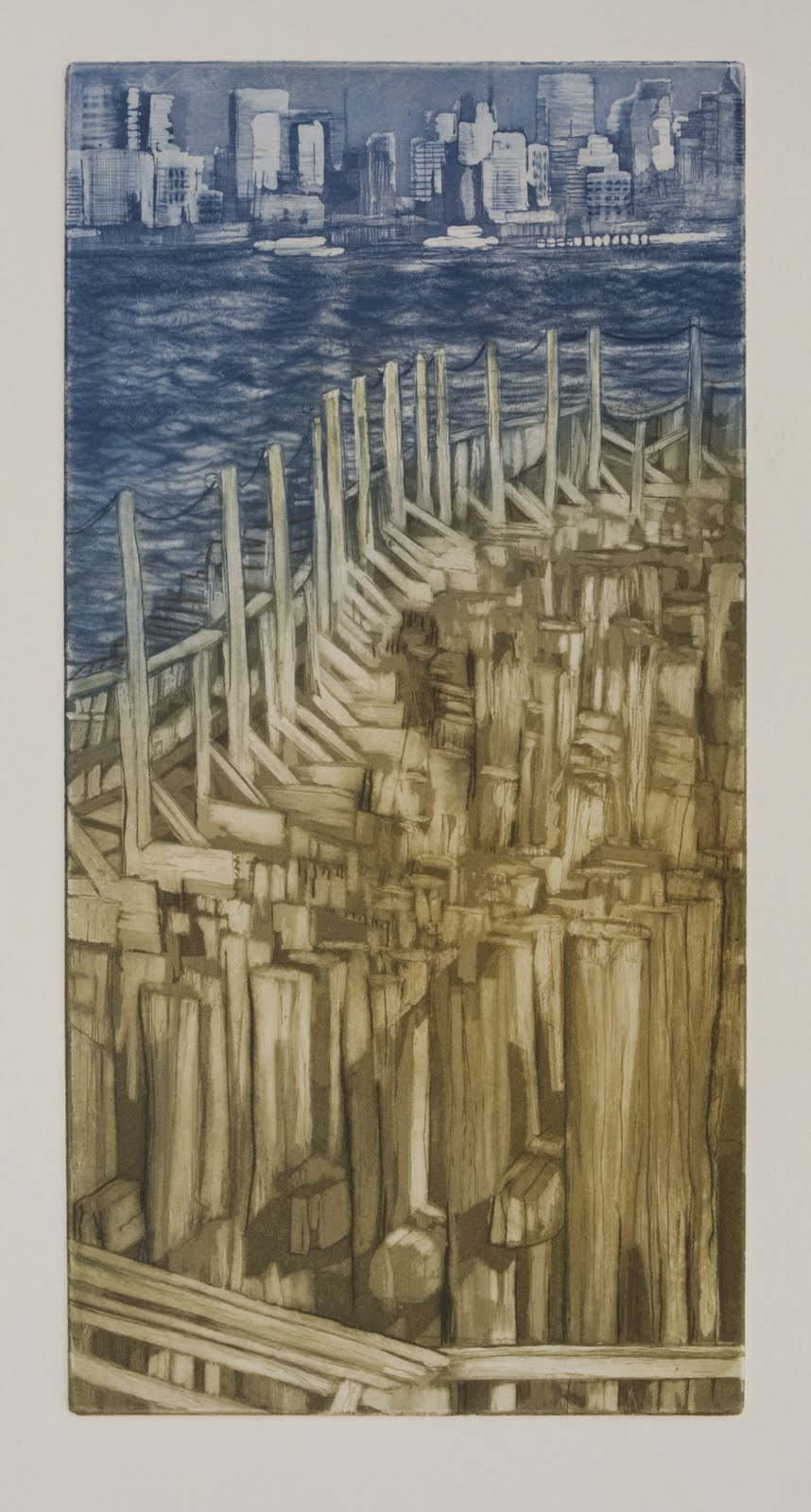 """""""Ferry Landing"""", etching,aquatint,drypoint (a la poupee, unique), 6 x 12 in."""