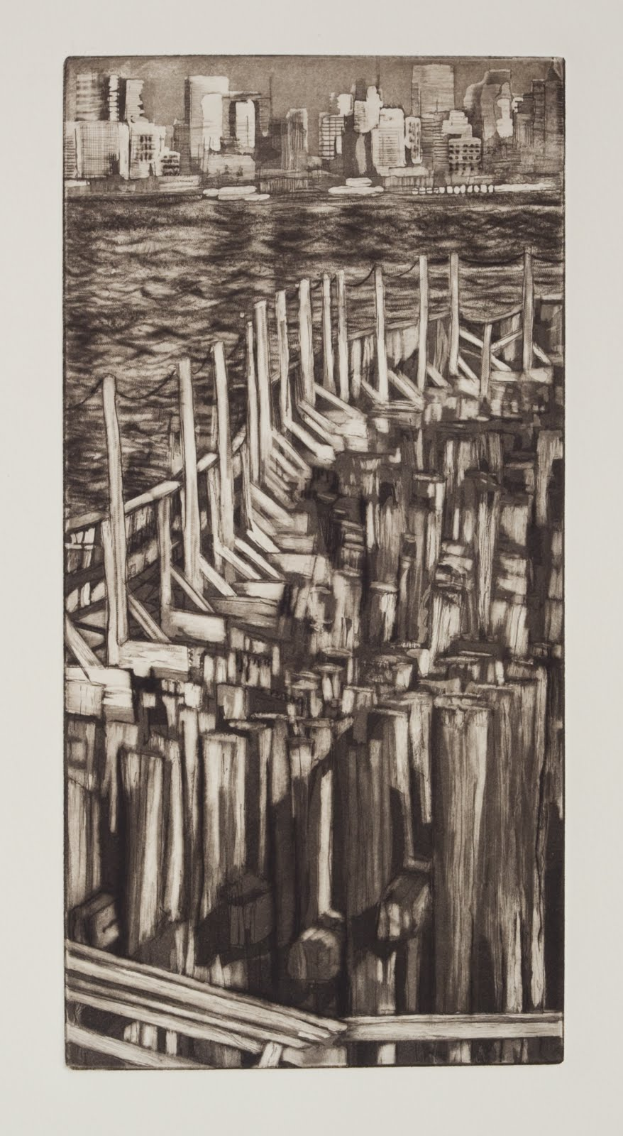 """Ferry Landing"", etching,aquatint and drypoint (edition of 10), 6 x 12 in."