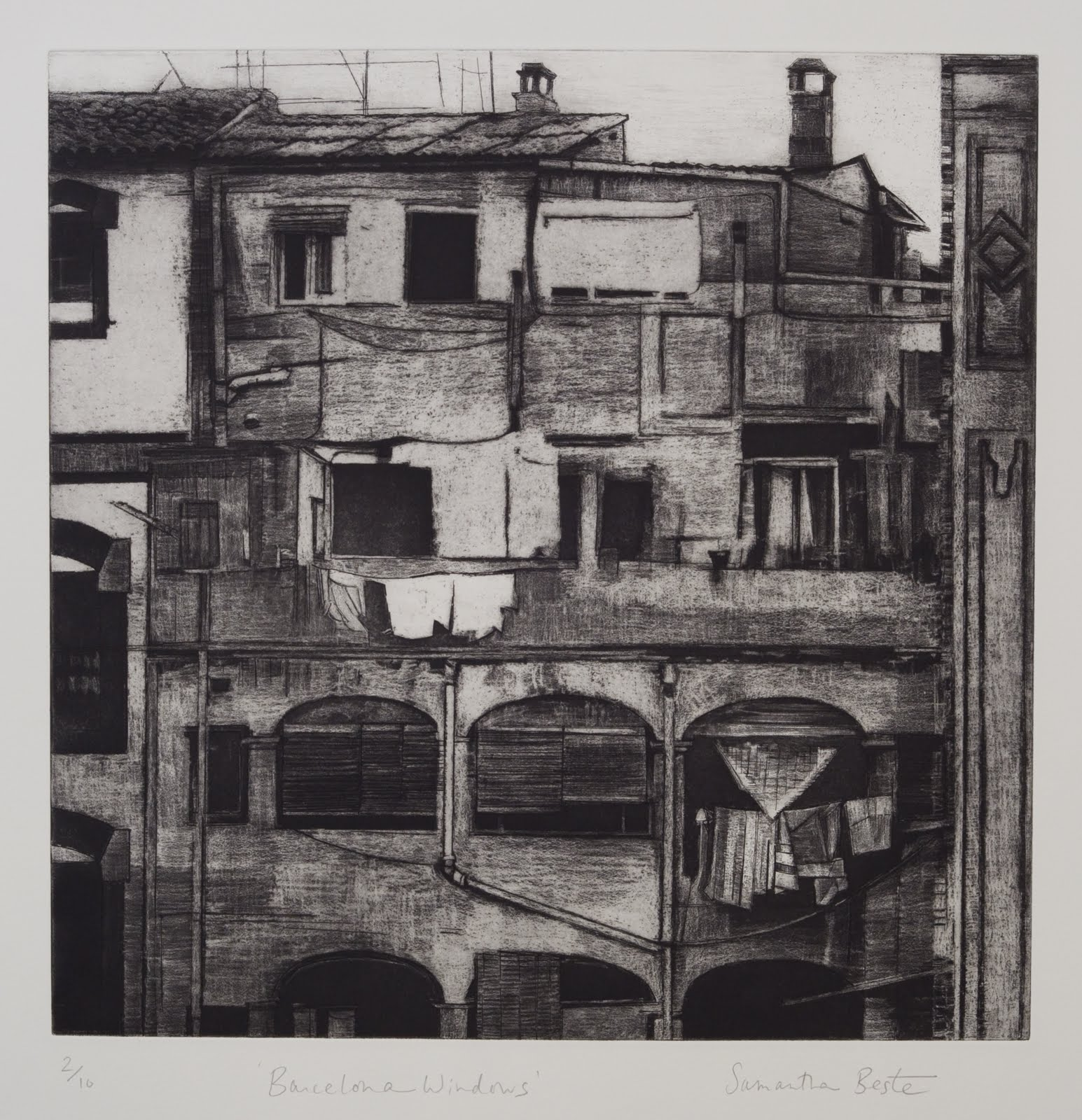 """Barcelona Windows"", etching and aquatint (edition of 10), 17.5 in. square"
