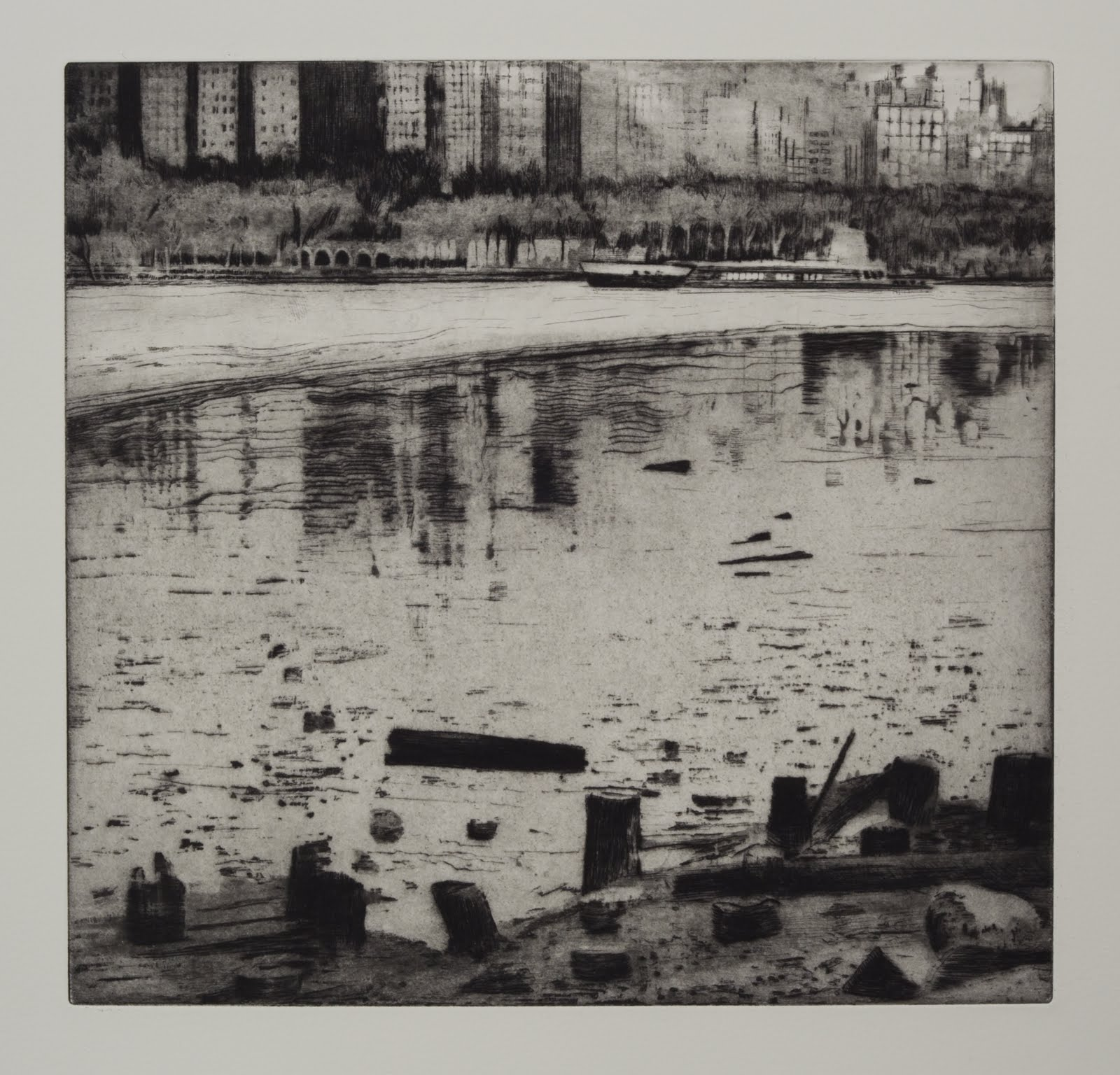 """Edgewater"", etching, aquatint, spitbite, 14 x 15 in."