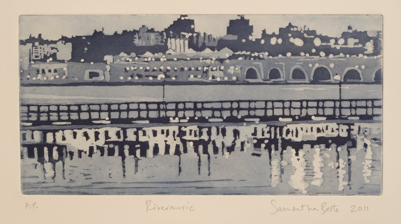 """Rivermusic"", Aquatint with blue ink, 6 x 12 in."