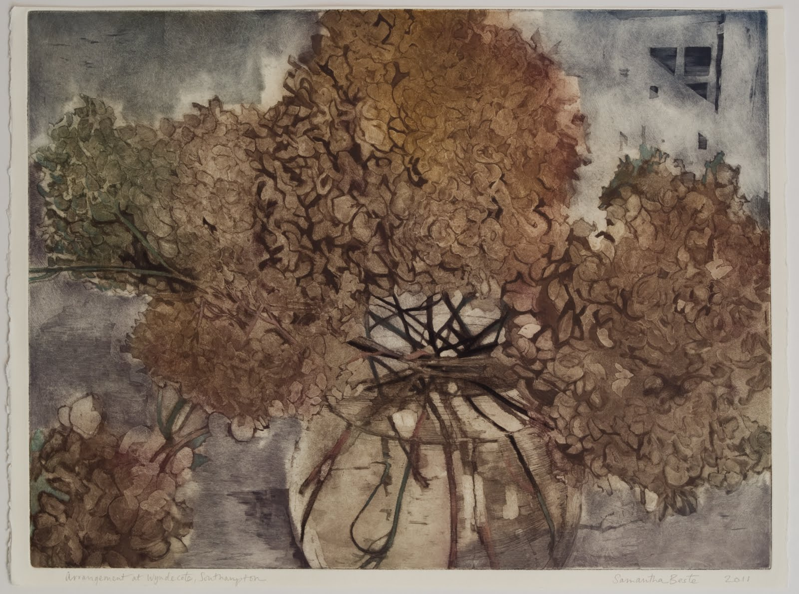 """Arrangement at Wyndecote"", Etching/aquatint with colored pencil, 18 x 23 in."