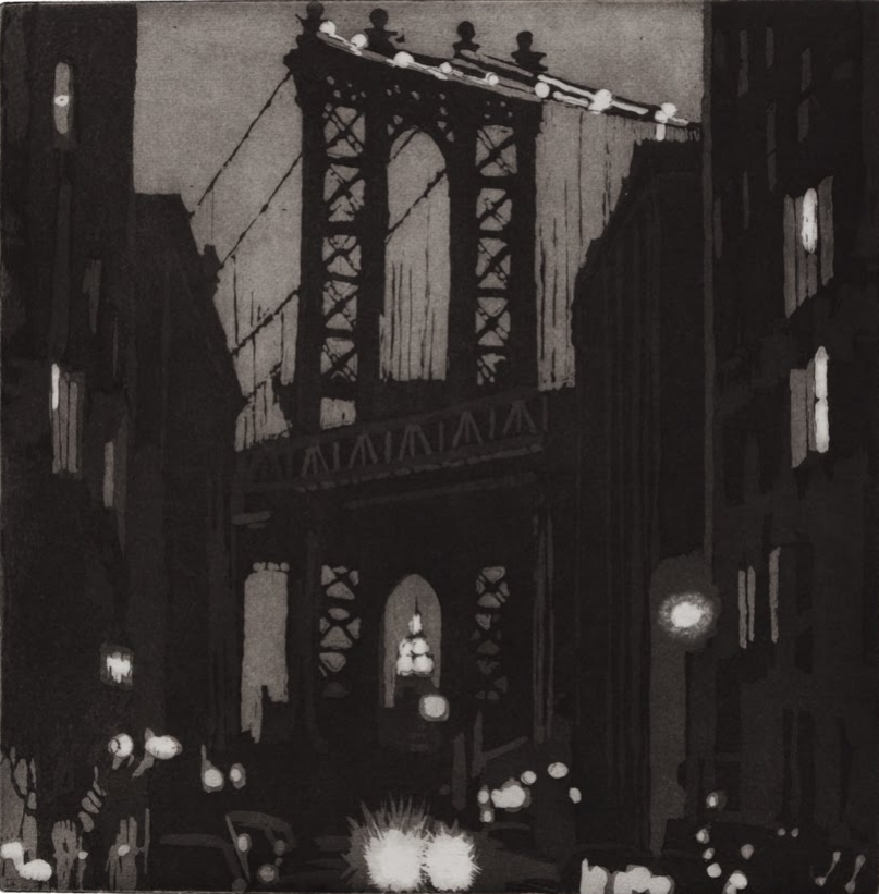 """Manhattan Bridge"", etching and aquatint, 11 x 11 in."