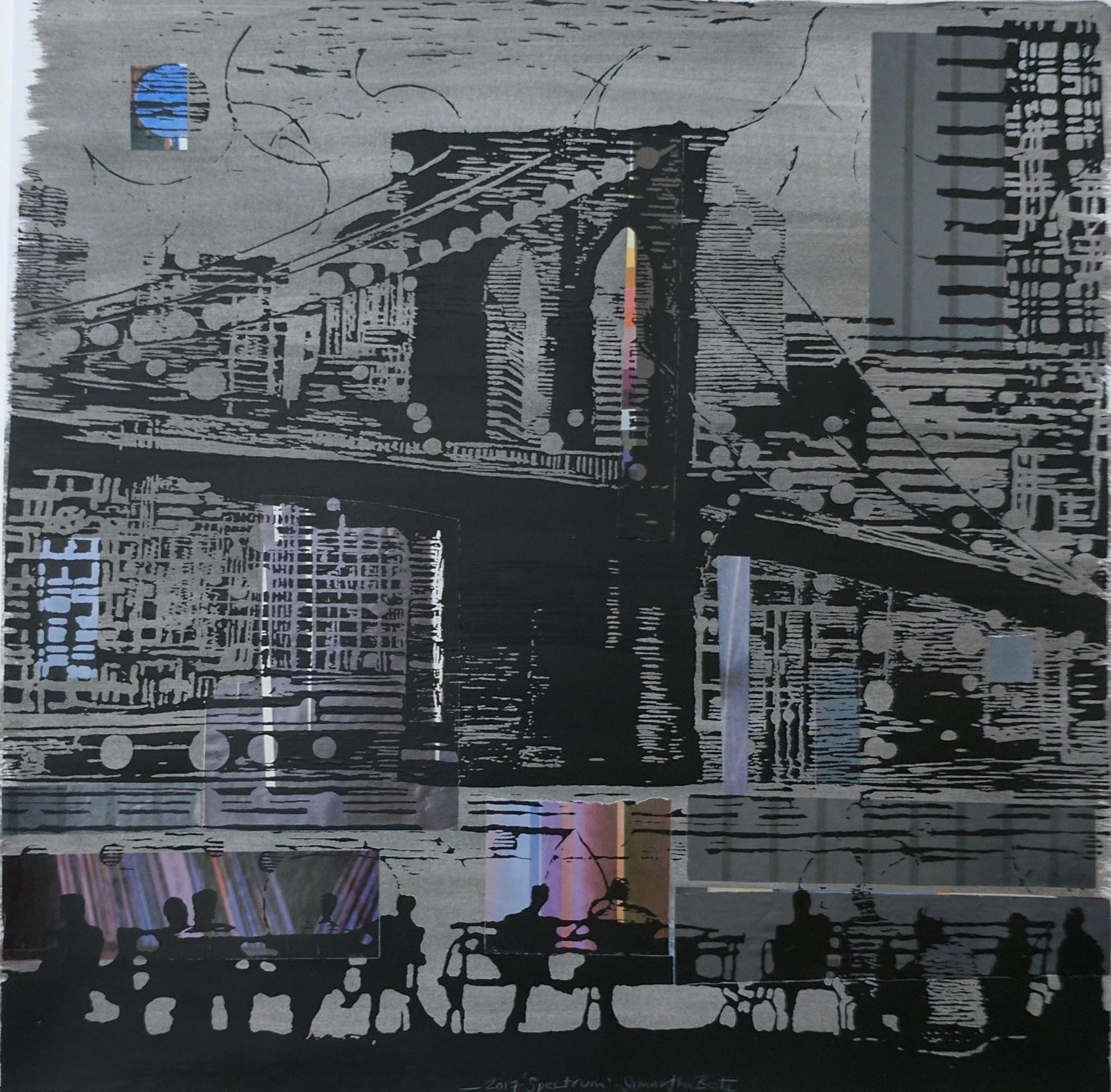 """""""Spectrum"""", serigraph/collage, 20""""x 20"""", 2017"""