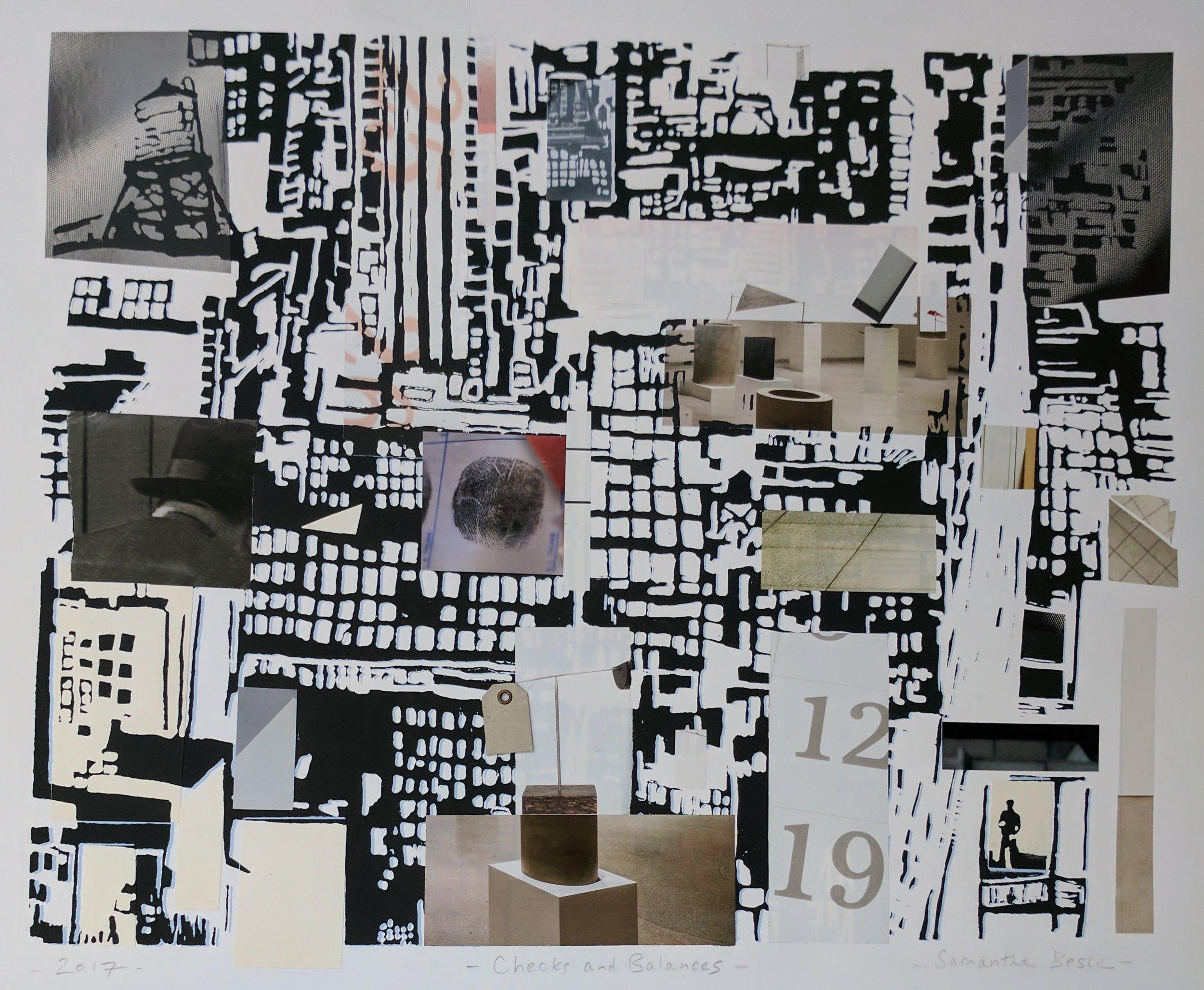 """Checks and Balances"", serigraph/collage, 28""x 22"", 2017"