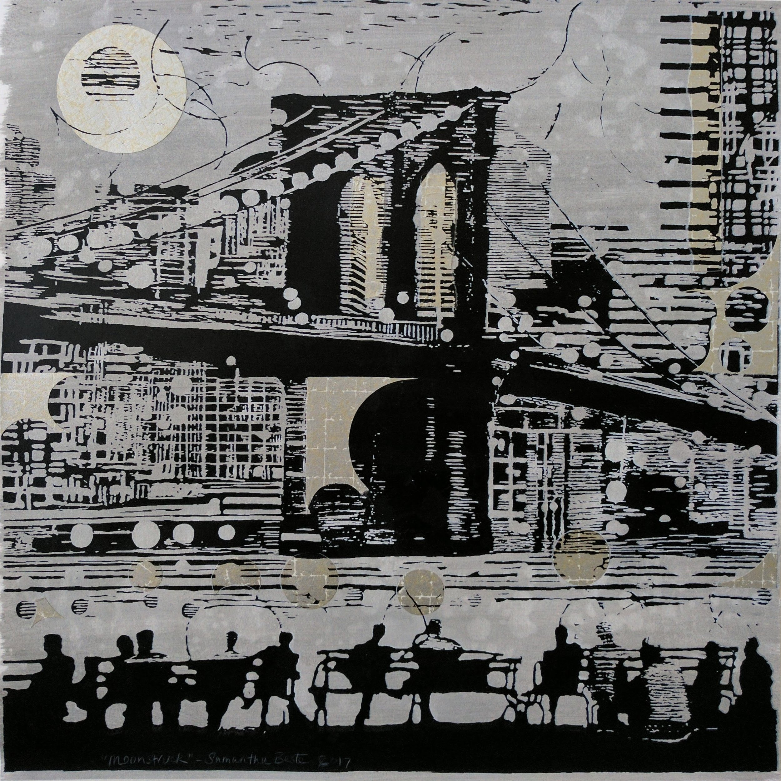 """Moonstruck, serigraph/collage, 20""""x 20"""""""