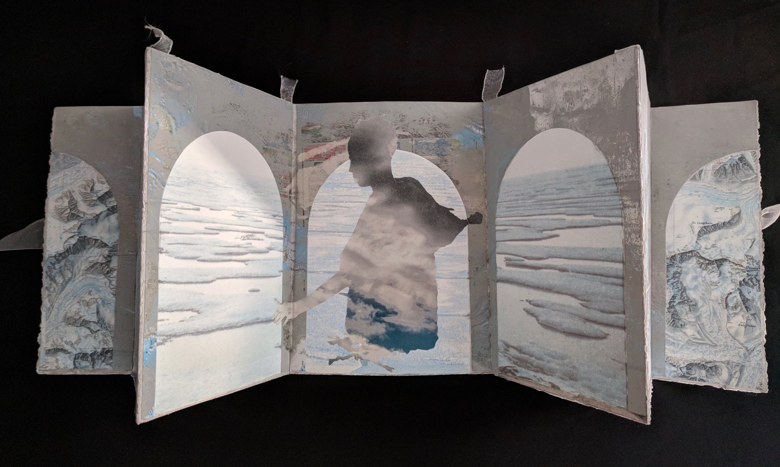 """Hall of Mirrors"", aluminum backed book, free-standing, 12""x50"",  2018"