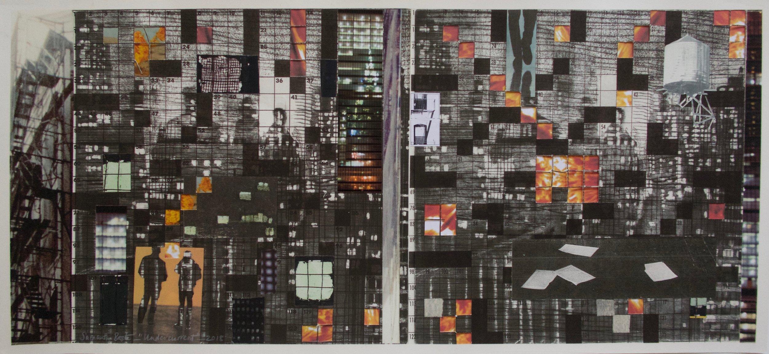 """Undercurrent"",  collage/archival pigment print, 40"" x 21"", 2018"