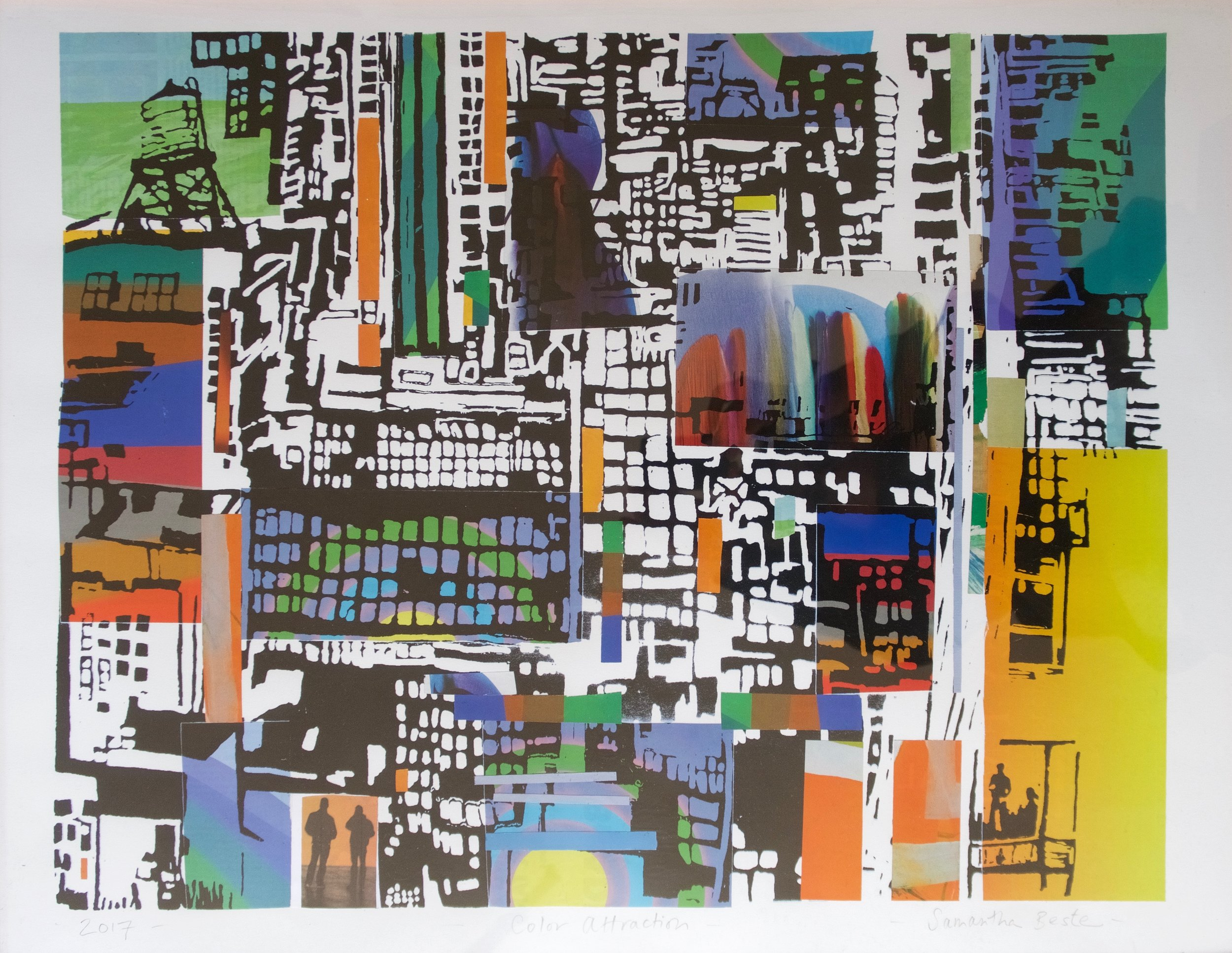"""""""Color Attraction"""", collage/serigraph, 29 x 23 in."""