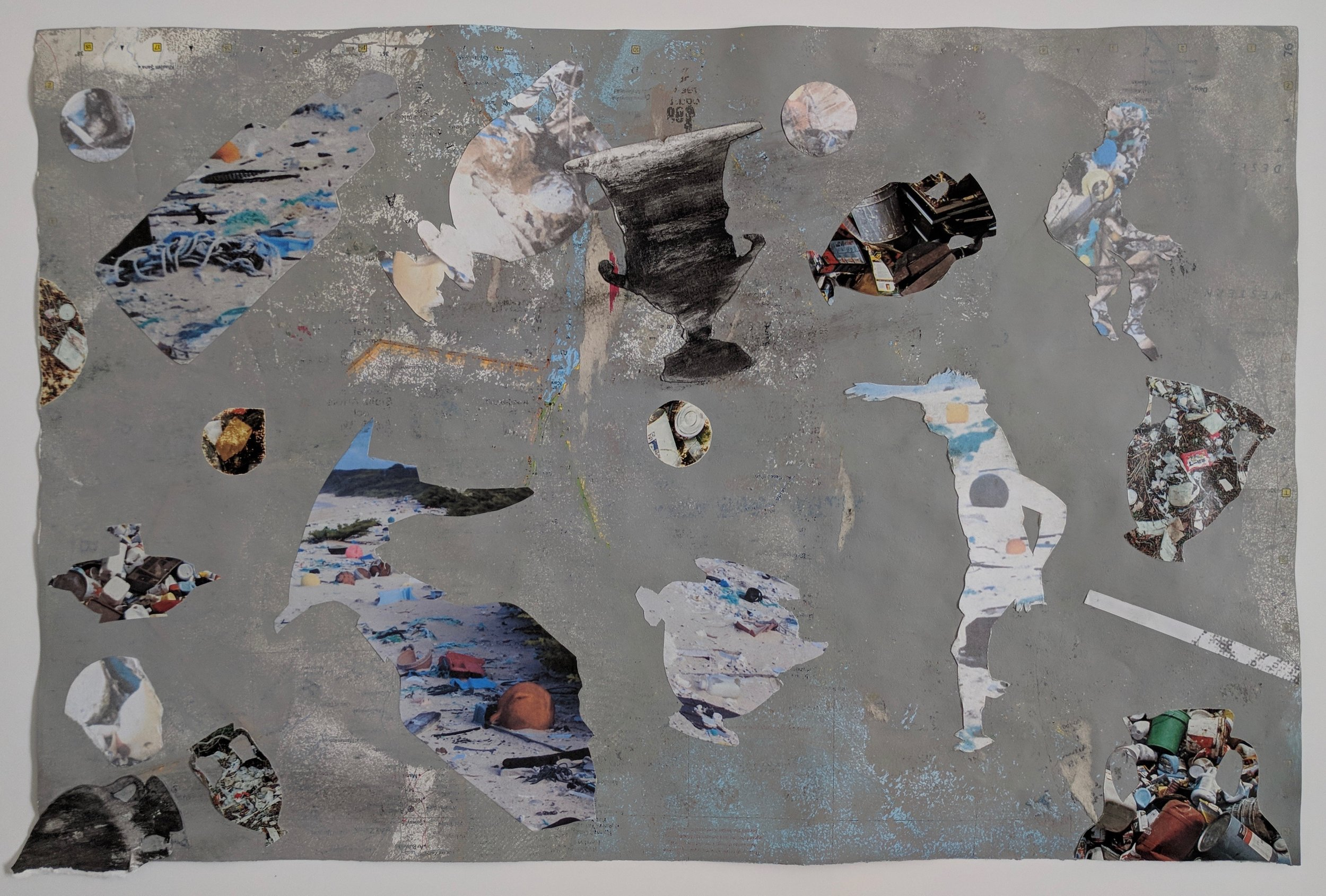 """Antic Ocean I"", house paint, eradicated map, collage, 12"" x 18.25"", 2017"