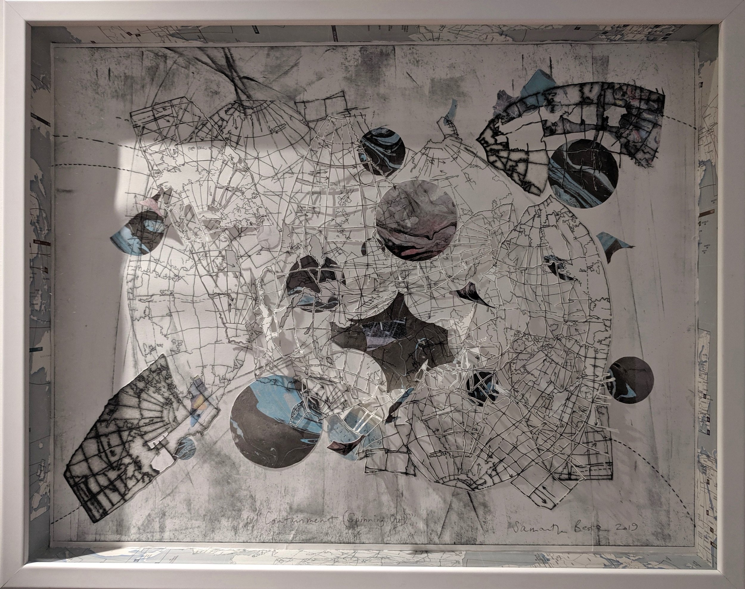 """""""Containment"""",  drypoint etching w/ chine-colle and collage in box frame, 22""""x 30"""", 2019"""