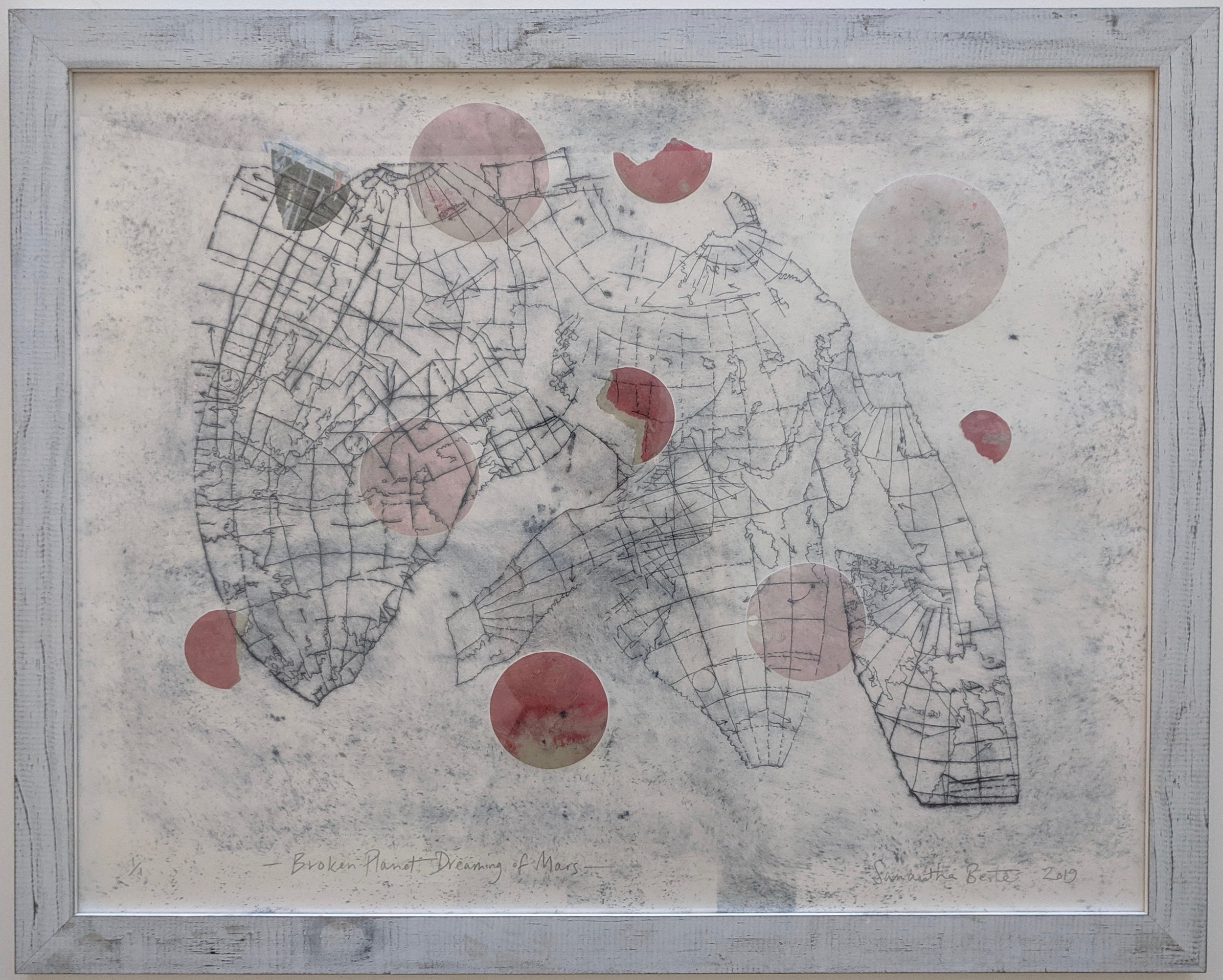 """Broken Planet Dreaming of Mars"", drypoint etching with chine-colle on Rives BFK, 24"" x 30"", 2019"