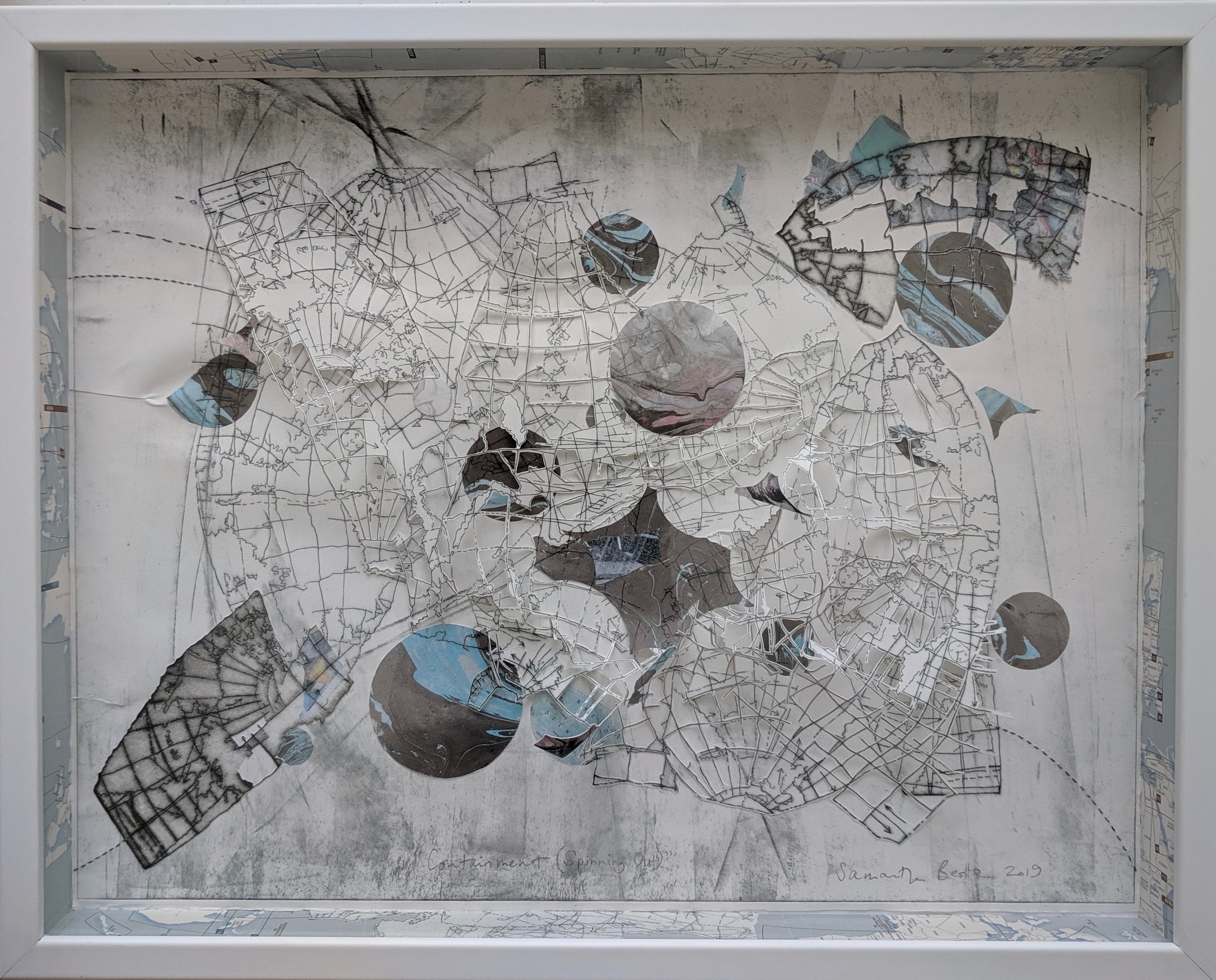 """Containment (Spinning Out)"",  drypoint etching w/ chine-colle and collage in box frame, 22""x 30""x 2.5"", 2019"