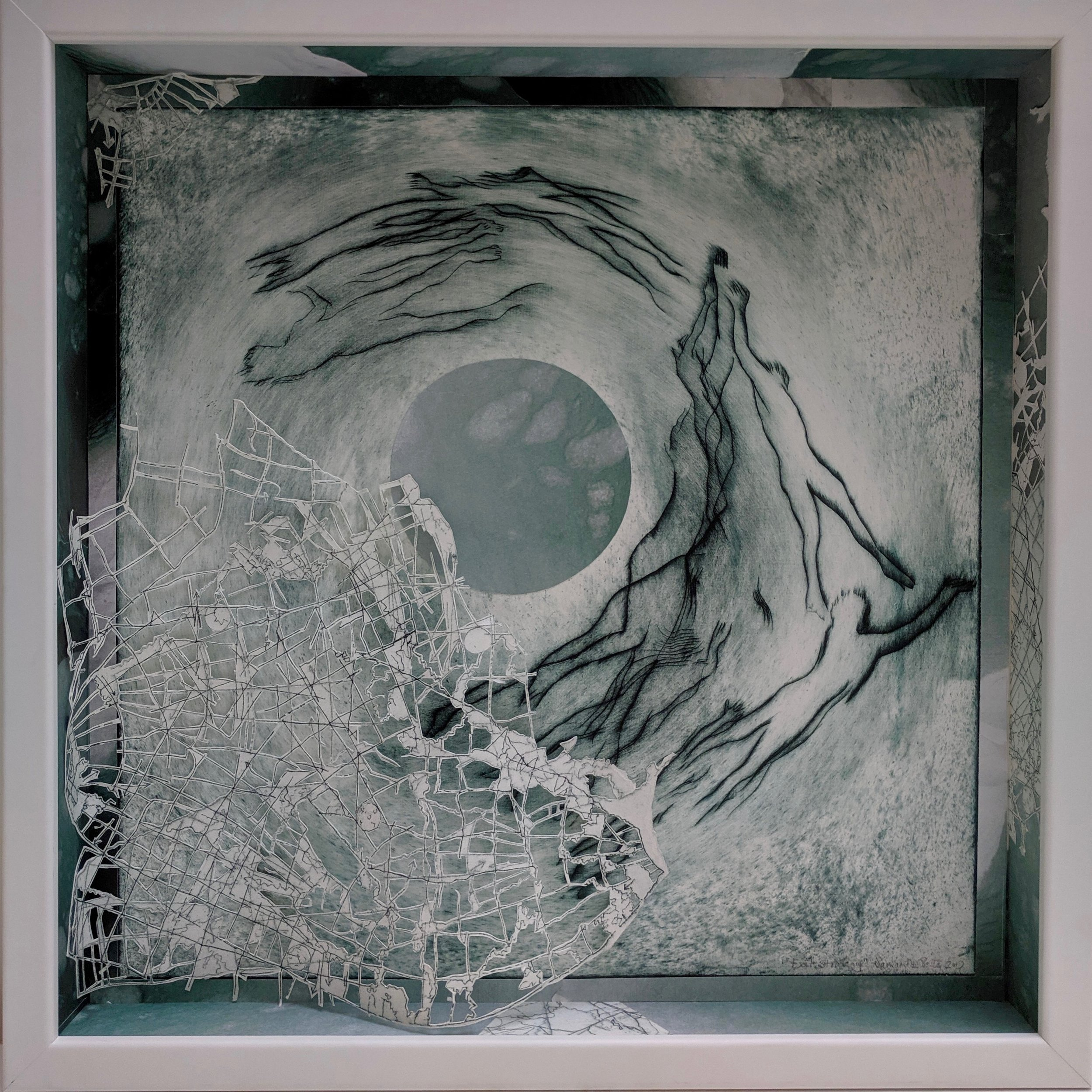 """Exit Strategy"", drypoint etching and collage in shadowbox frame, 20"" x 20"" x 2.5"", 2019"
