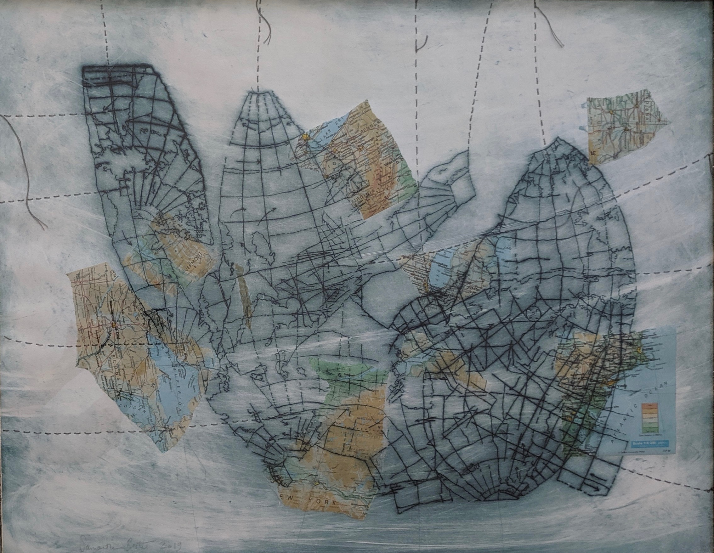 """Reinforcements (Collapsed Map)"", drypoint etching with chine-colle and thread on Rives BFK, 24"" x 30"", 2019"