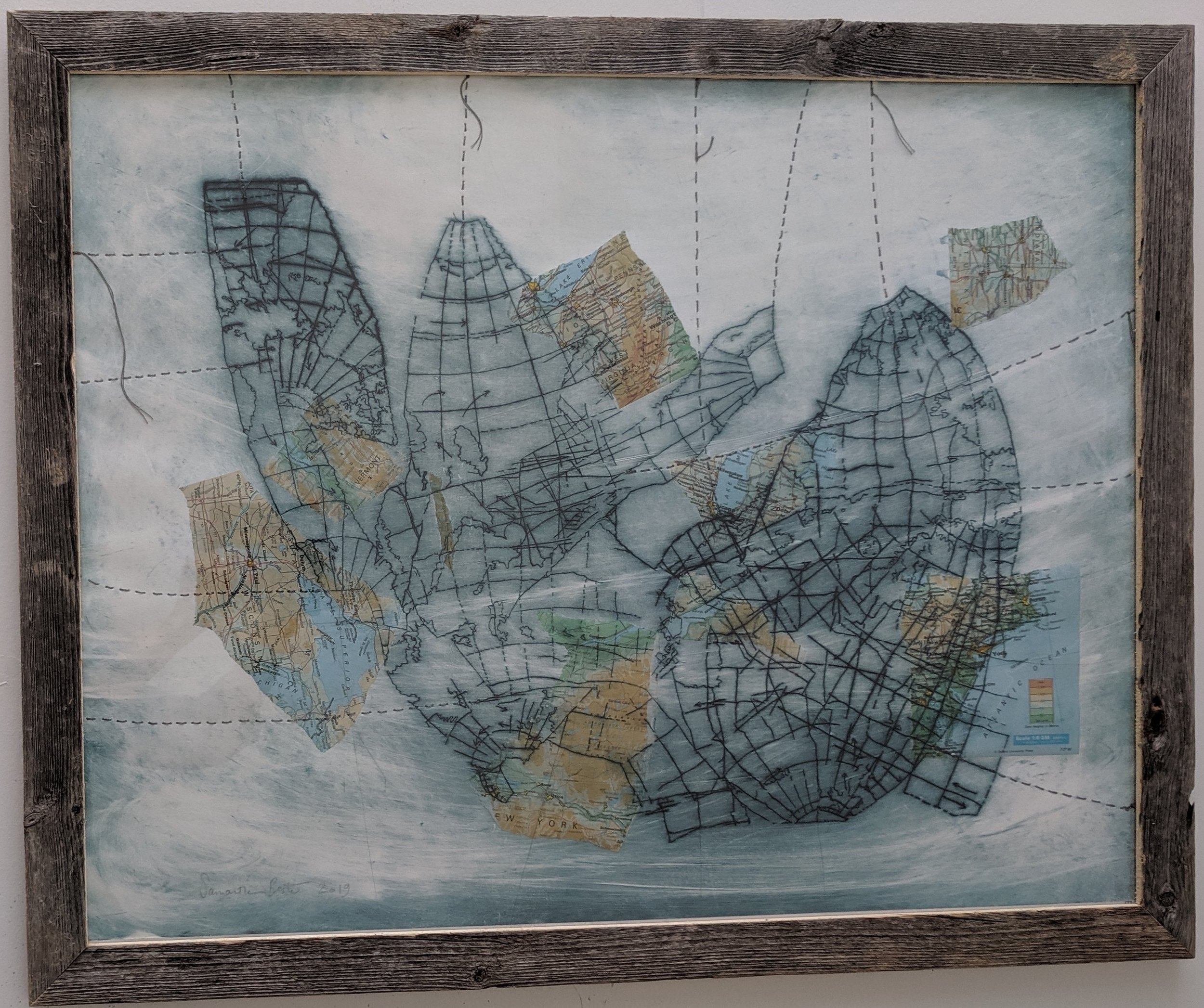 """Reinforcements (Collapsed Map)"", drypoint etching with chine-colle and thread on Rives BFK, in recycled wood frame, 2019"