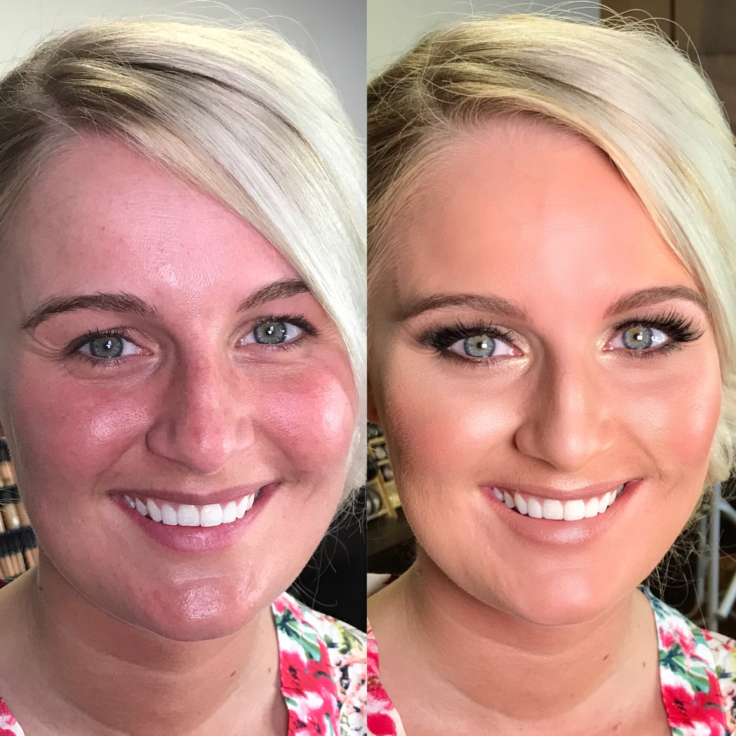 This bride wanted full-on glam for her makeup look, so we layered different cream products under the airbrush formula to give a dense look that really pops on camera.